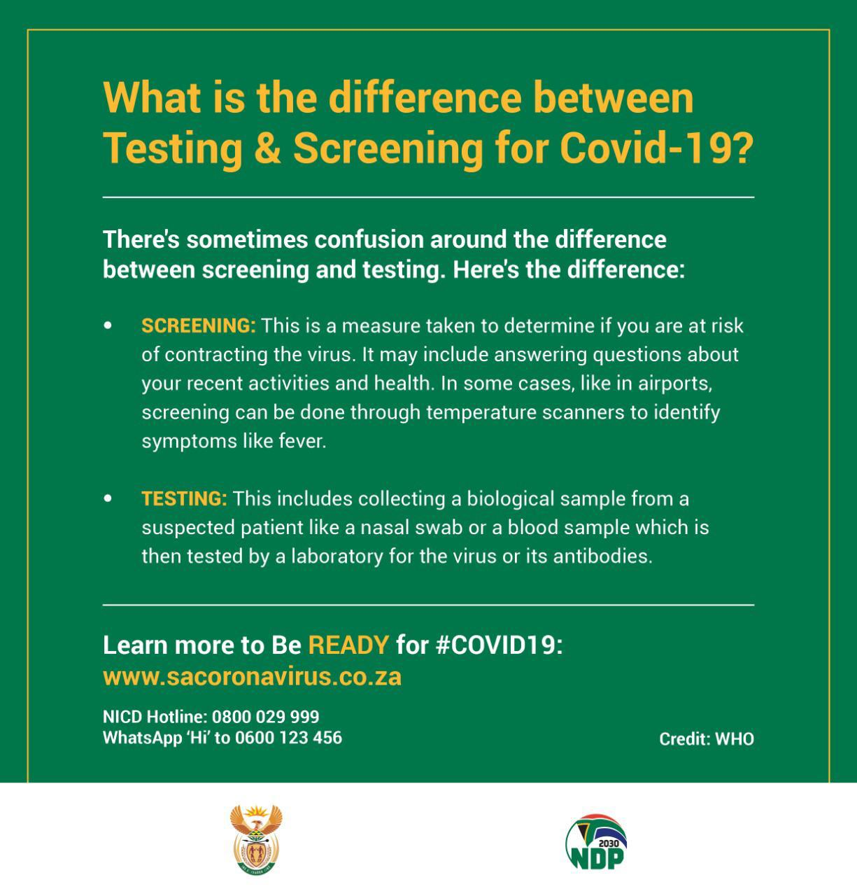 Social Media - COVID-19 Difference between testing and screening